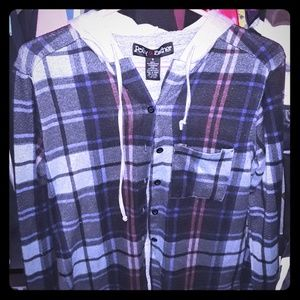 Plaid button up long sleeve w/ hood